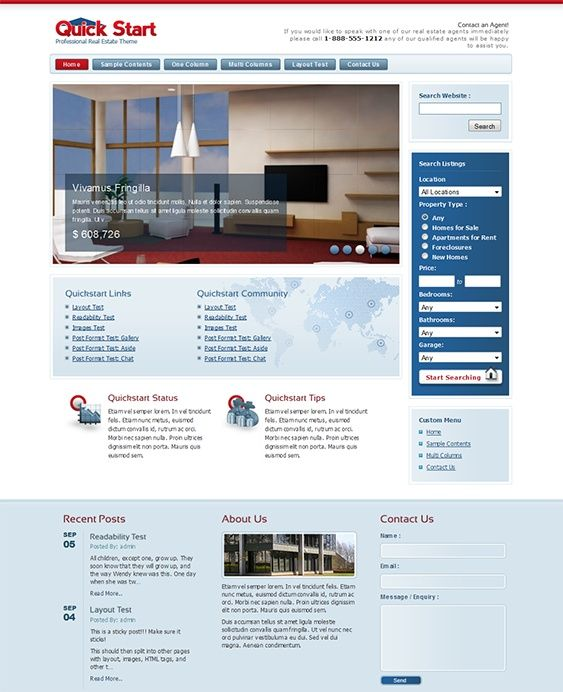Esta plantilla WordPress inmobiliario cuenta con una funcionalidad de listas de búsqueda, un built-in formulario de contacto, efectos jQuery, integración de Google Analytics, un regulador de la imagen ofrecida, y más.