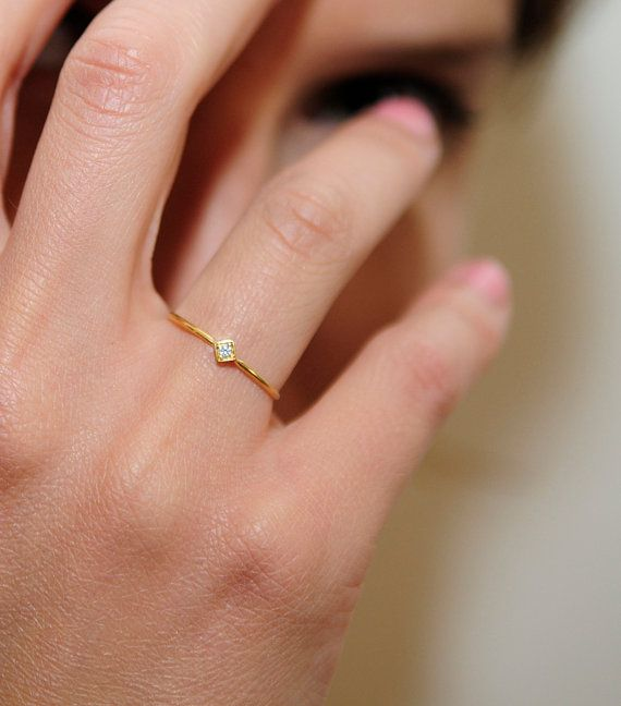 Minimalist thin gold ring with a diamond ,gold band, wedding ring with a diamond, 14 karat gold ring, engagement ring on Etsy, $160.00