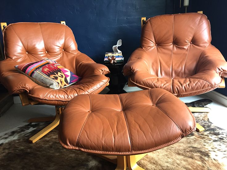 1970s leather armchairs by Module, Australia