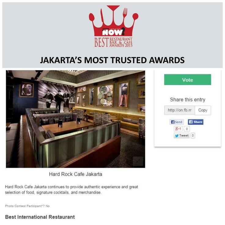Give your vote for @hardrockcafejkt for The Best International Restaurant on #BRBCA2015! #Jakarta #NOWJakarta #LifeinTheCapital #BRBCA #Best #International #Category #Awards #Event #JKTEvent #HardRock #HardRockCafe #HardRockCafeJakarta #HardRockCafeJKT #HardRockJakarta #HardRockJKT #Brunch #Lunch #Dine #Diner