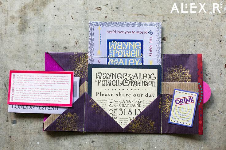 The origami wedding invite opened up