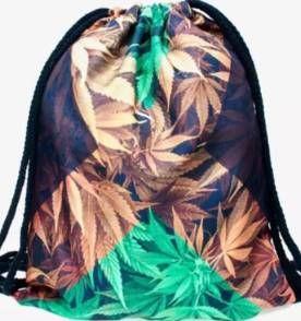 Mochila estilo saco bandeira da Jamaica e marijuana weed