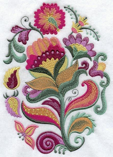 Jacobean Embroidery Patterns | Jacobean Floral Oval
