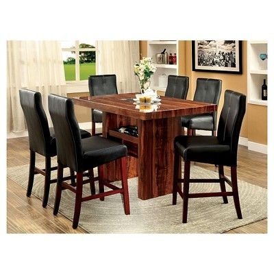 Sun & Pine 7pc Faux Marble Top Block Counter Dining Table Set Wood/Brown Cherry