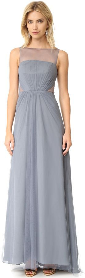Monique Lhuillier Bridesmaids Tulle Illusions Cut Out Gown