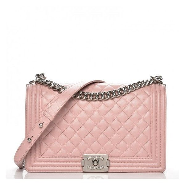 CHANEL Calfskin Quilted New Medium Boy Flap Light Pink ❤ liked on Polyvore featuring bags, handbags, shoulder bags, light pink purse, quilted purses, light pink shoulder bag, shoulder hand bags and flap bag