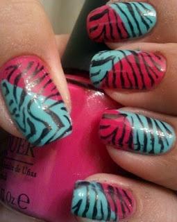 Funky Zebra Nails