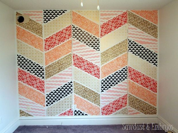 Stenciled Patchwork Herringbone Accent Wall {Sawdust and Embryos}