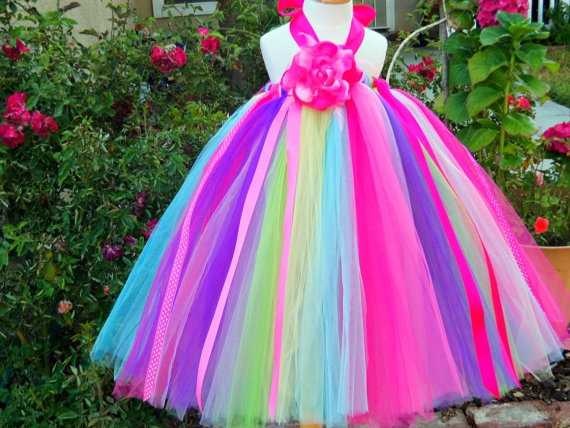Bright Rainbow Girls Tutu Dress-I can make this for A LOT less than $86! My next project!!