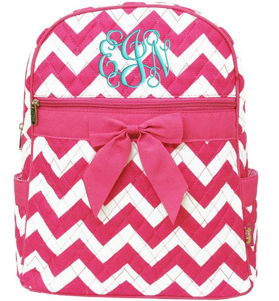 Personalized Backpack Chevron Hot Pink Bookbag Quilted by parsik93