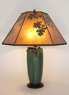 """$475 plus shade  American Arts and Crafts Pottery Lamp, Ephraim Faience """"Stalwart Oak"""" lamp with Amber Mica Oak Leaves and Acorns Lamp Shade"""