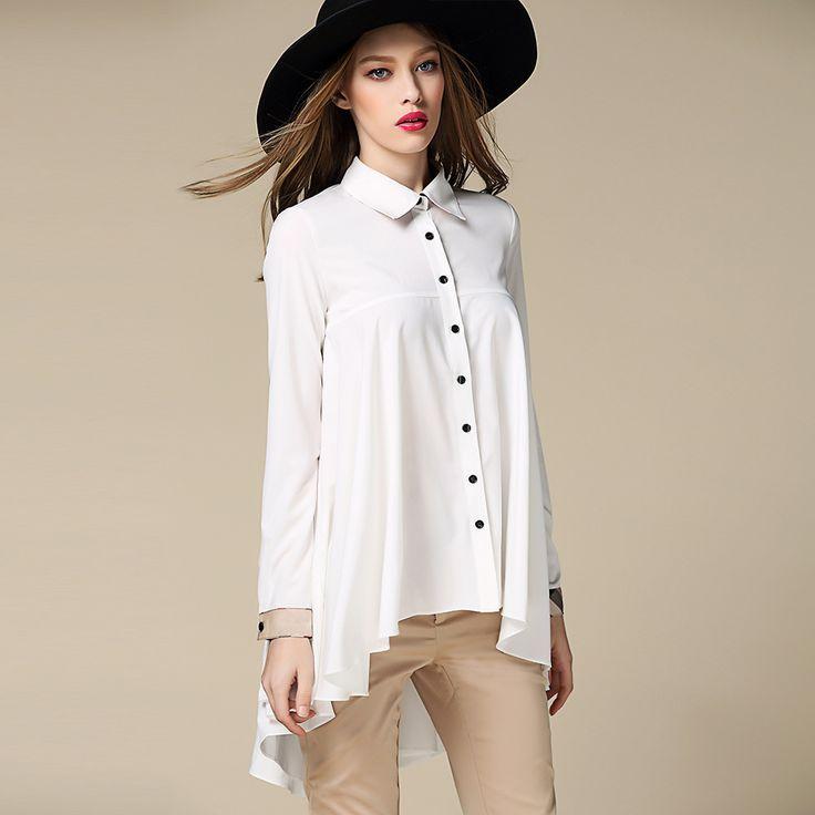 2016 das Mulheres Da Moda blusa de chiffon Camisas Blusas completo Manga PatchWork xadrez cáqui Irregular hem blusa tops feminino plus size em Blusas & Camisas de Das mulheres Roupas & Acessórios no AliExpress.com | Alibaba Group