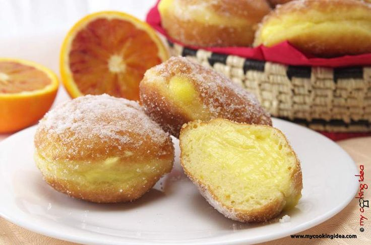 Bomboloni con crema all'arancia #ricettebloggerriunite http://www.mycookingidea.com/2016/02/bomboloni/- My Cooking Idea