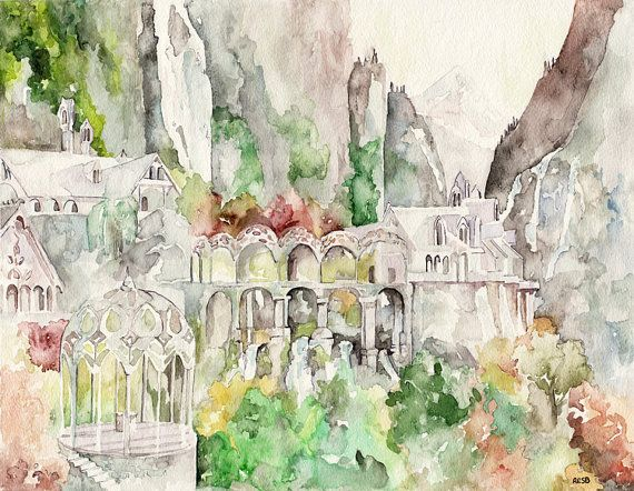 Rivendell Painting - Print from Original Watercolor ...
