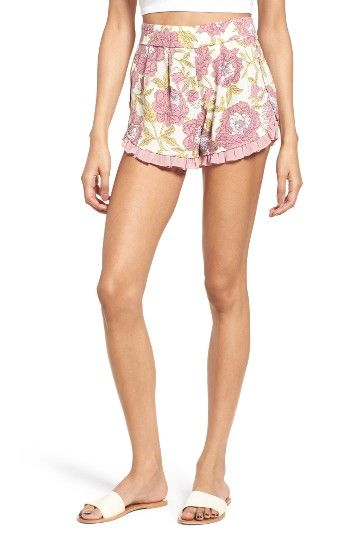 Free shipping and returns on Leith Ruffle Trim Floral Shorts at Nordstrom.com. Dainty pleated ruffles trimming the scalloped hems add a sweet touch to pleat-front crepe shorts with a fresh and pretty floral print.