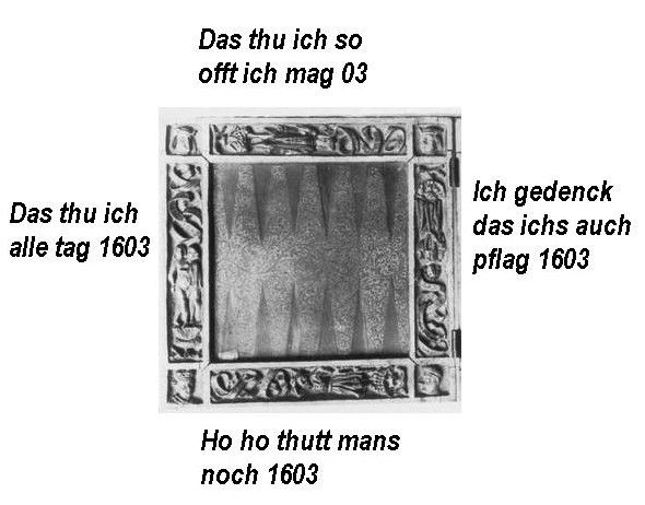 lefthand side [only] of gameboard. The borders are carved in low relief with the Four (Sexual) Ages of Man with the usual texts, dated 1603. Munchen, Bayerisches Nationbalmuseum. Inv.-Nr. 2993. WISH I COULD SEE A DECENT REPRODUCTION OF IT! THIS IS VIA THE TINY PHOTO IN the Marburger Bild-Index.