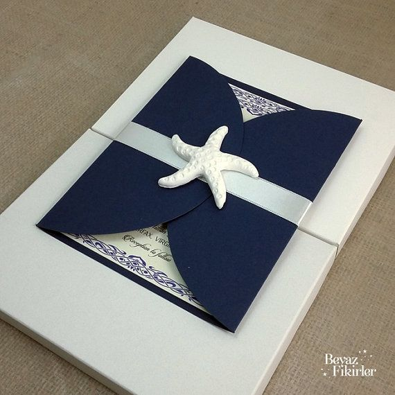 Dark Blue Envelope With Sea Starfish Wedding by Beyazfikirler