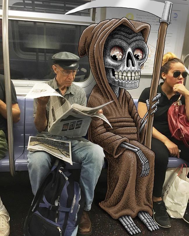 Metro İstasyonunda Çekilen Fotoğraflara Yapılan Birbirinden Komik Karalamalar Sanatlı Bi Blog 7