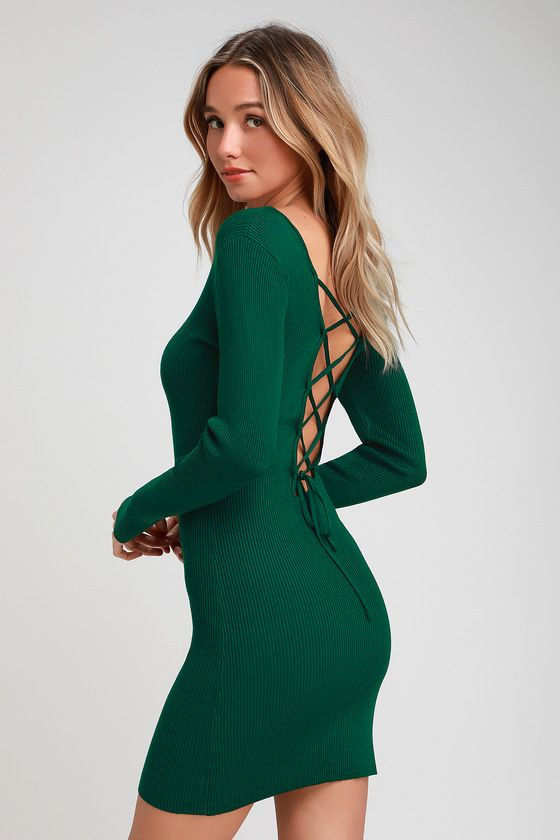 a5857833e58 The Lulus Kiss and Lace Up Dark Green Lace-Up Long Sleeve Sweater Dress is  so cute