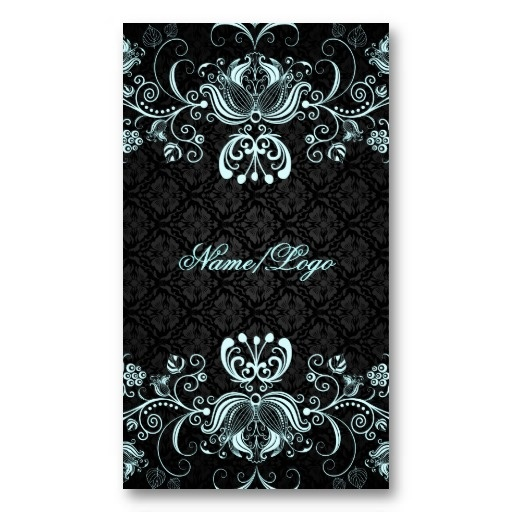 Elegant Black & Pastel Blue Floral Swirls Business Cards by artOnWear on Zazzle