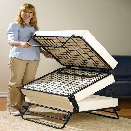 An RV ottoman can be a great place for some additional storage space. We prefer to use it as an extra bed.