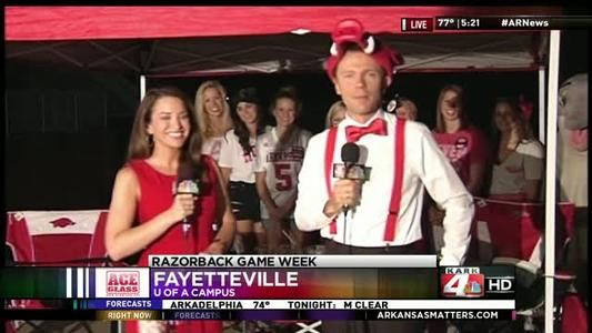 Arkansas, Delta Iota, makes an appearance on the news showing their Razorback, Tri Delta & St. Jude spirit.