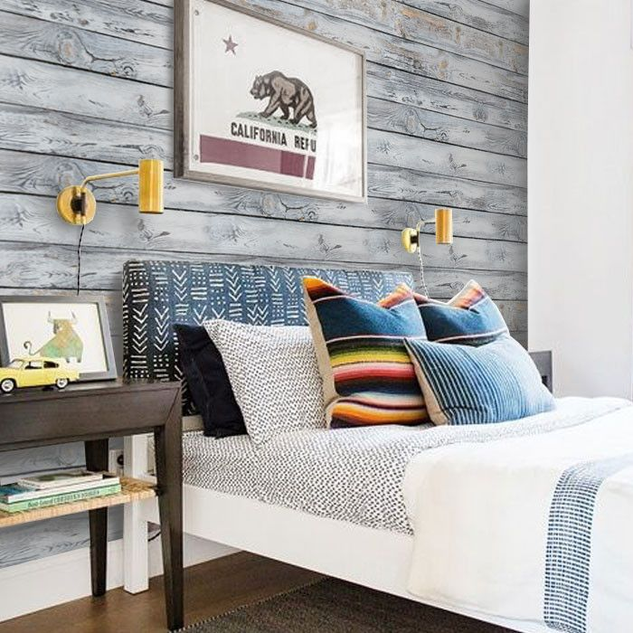 Bous Room Accent Wall: Horizontal Vintage Grey Wood Pattern Removable Wallpaper