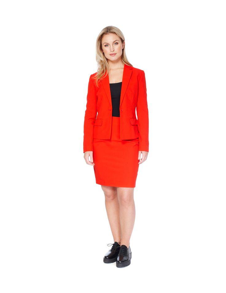Costume Mrs. Rouge femme Opposuits™ : Cet Opposuits™ rouge pour femme se compose d'une veste et d'une jupe (haut et chaussures non inclus). La veste rouge possède 2 fausses poches et se ferme devant par un...