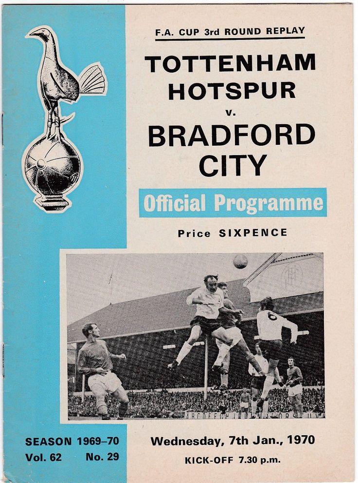 Vintage Football (soccer) Programme - Tottenham Hotspur v Bradford City, FA Cup, 1969/70 season #football #soccer #tottenham #spurs #bradford