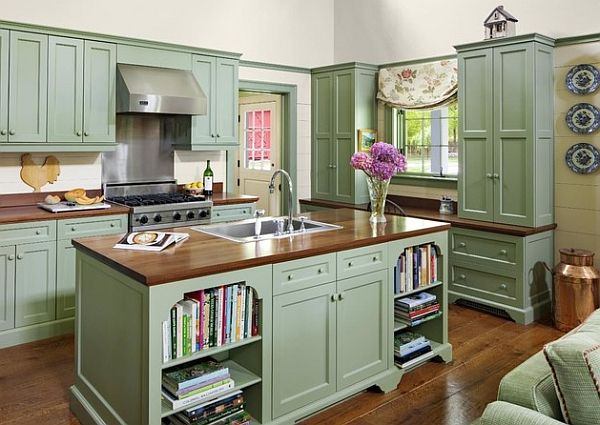 Add a touch of vintage charm to your kitchen with painted for Green kitchen cabinets
