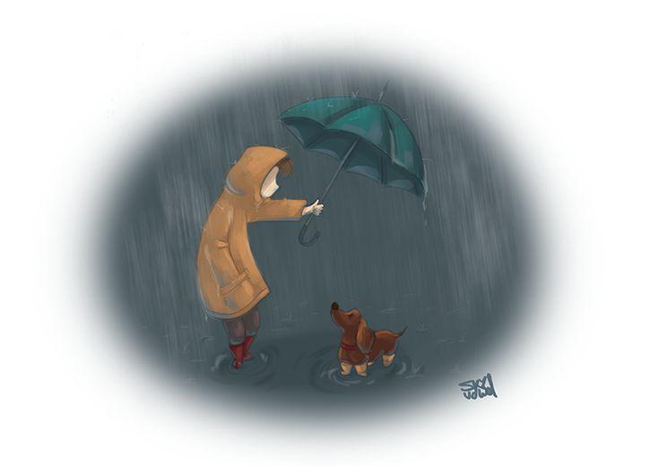 Sharing the umbrella?   Dachshund / wiener dog in the rain   Illustration by S.K.Y. van der Wel