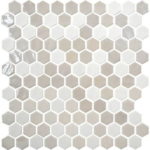 Uptown Glass Alabaster Up17 1 Inch Hexagon Mosaic Tile