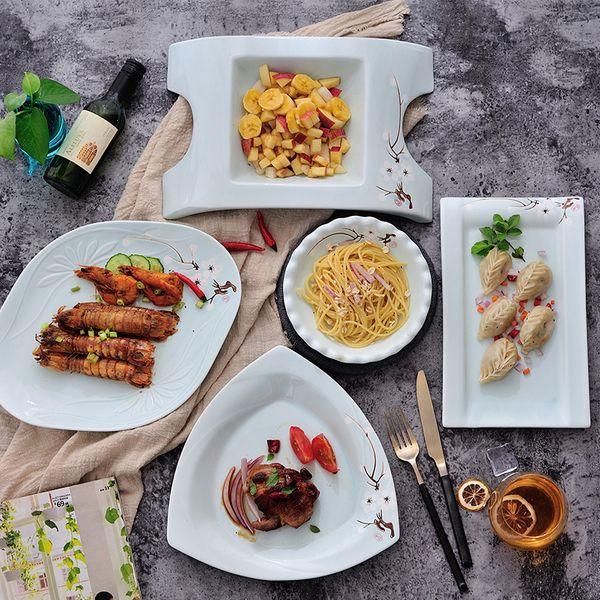 Творческое ручной росписью керамики блюда бытового блюдо Западного блюда Стек блюдо салат фрукты завтрак отель посуда