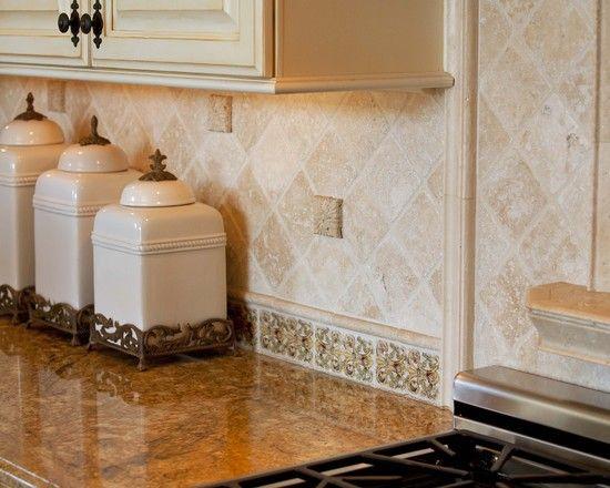Kitchen Tumbled Travertine Backsplash Design Pictures