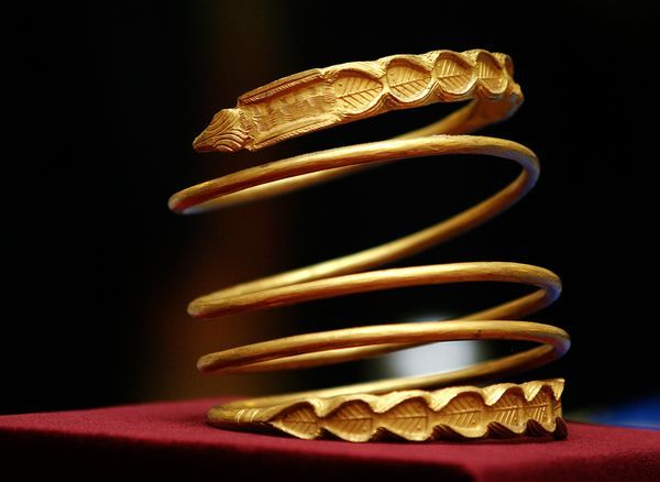 Leaves and snake heads adorn a Dacian bracelet (circa 100 B.C.) in the Romanian National History Museum.