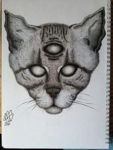 Three eyed cat illustration, fine liner on A4 paper