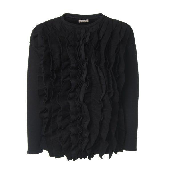 Esclusiva t-shirt lunga di colore nero per bambine e ragazze della linea di abbigliamento Bambina e Teenager firmata DouDou Girl.