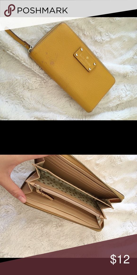 Kate Spade Classic Wallet in Mustard Some wear and stain. Might be able to remove stain but selling for cheap! kate spade Bags Wallets
