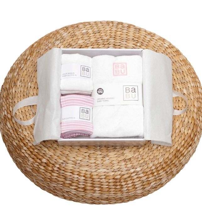 Babu - Bathing Gift Box 2, NZ$90.00 (http://www.babu.co.nz/value-packs-gift-boxes/bathing-gift-box-2/) All wrapped up and ready to go with a baby towel, gauze muslin set (6) and face cloth set (4).