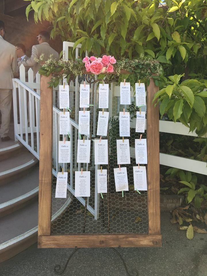 Seating Chart for Wedding #wedding #weddingday #weddingideas #weddinginspiration #greenery #roses #seatingchart #chickenwire #elegant #elegantwedding #rustic #rusticwedding #bellavistagroves #pretty #easel #weddingdecor #weddingrental #floral #pink