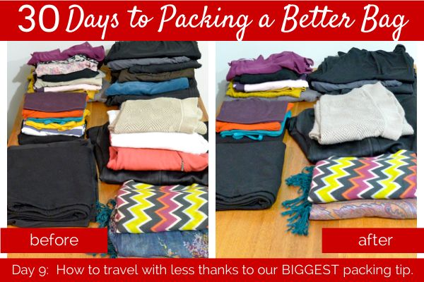 day 9: How to travel with less thanks to our biggest packing tip. Quality pieces, color palettes. Cut out half.- Her packing list