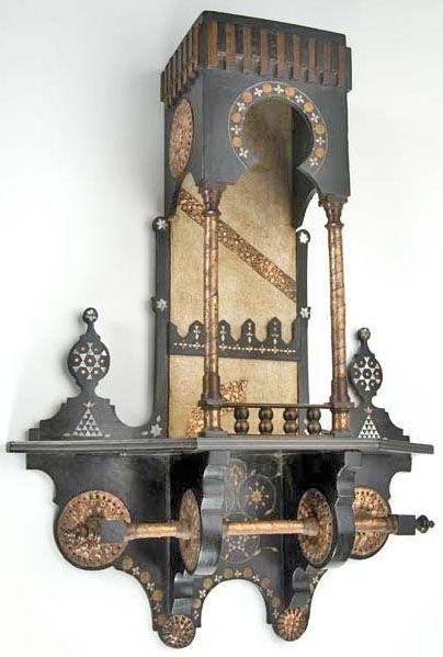 Furniture: Etagere; Aesthetic Movement, Bugatti (Carlo), Ebonized, Wall Mounted, Ebonized & Inlaid, Arching Canopy.