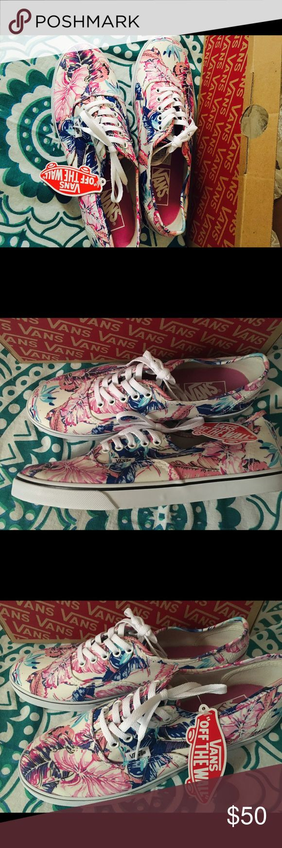 Tropical flower print vans 8.0 women NWT tropical lo pro vans! Never worn! Super cute paired with jeans or shorts. $40 price firm :) Vans Shoes Sneakers