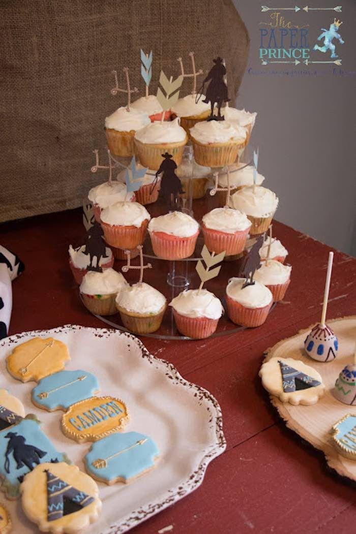 Cupcakes from a Rustic Cowboys & Indians Birthday Party via Kara's Party Ideas   KarasPartyIdeas.com (14)