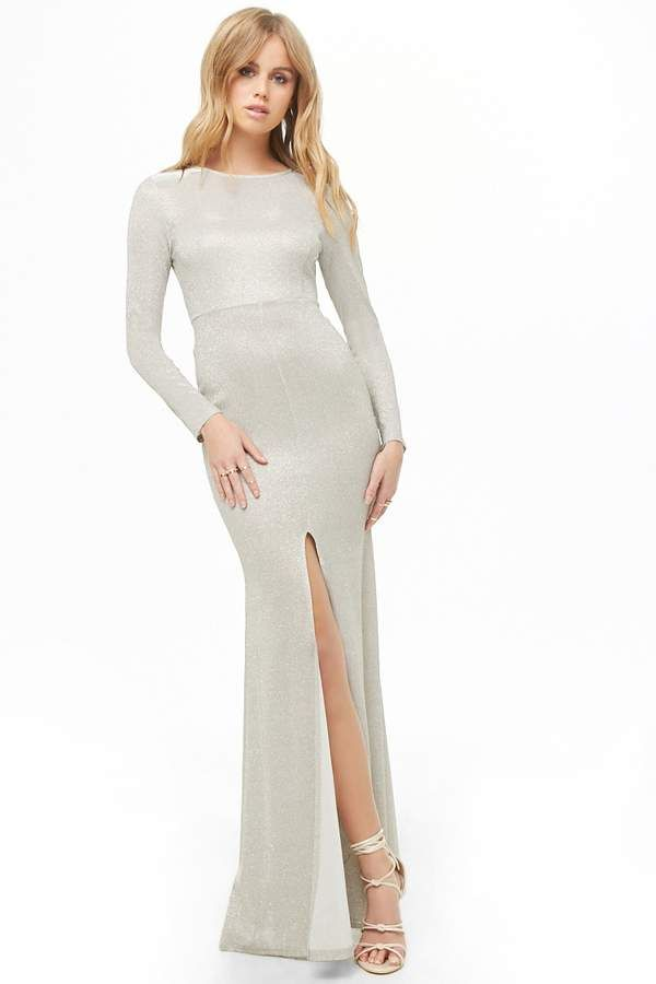 13fe6444bc0 Forever 21 Glittered Front-Slit Gown