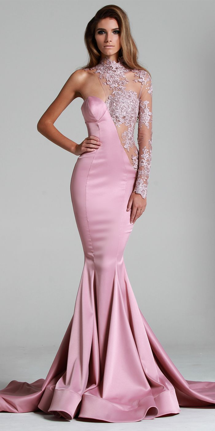 Pink Evening Dresses Illusion Formal Prom Gowns Water Collection 2016 Special Occasion Wear Mermaid One-Shoulder Crystal Celebrity Arabic