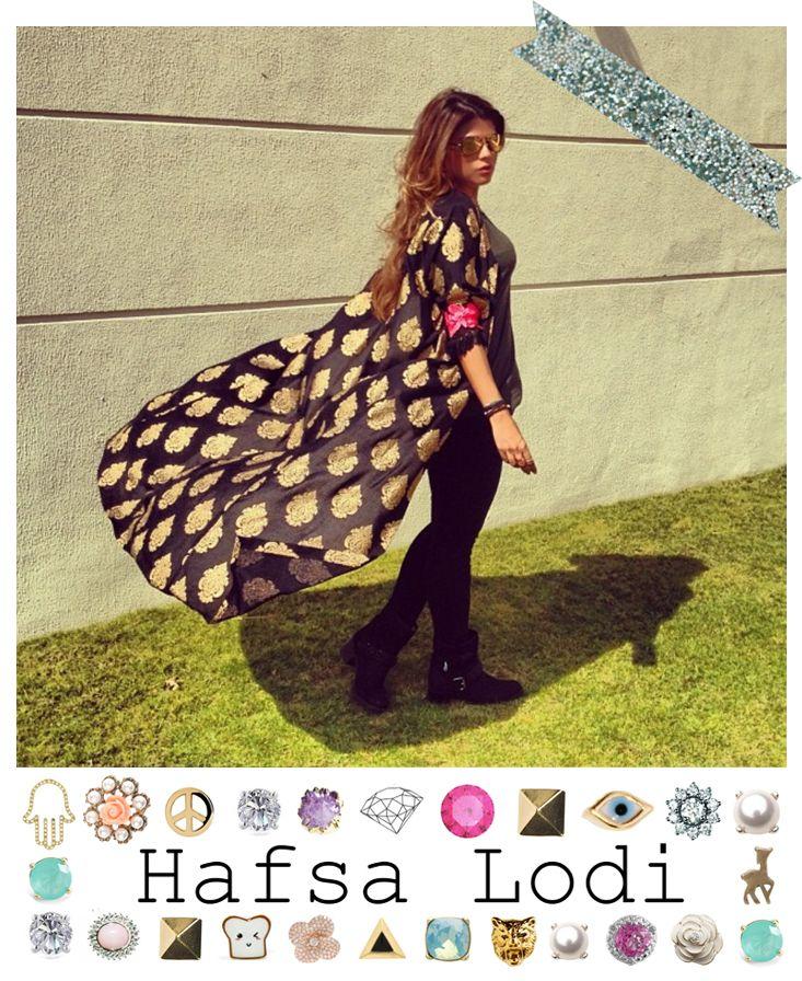 Anoud Badr, AKA Lady Fozaza, wears the Hafsa Lodi black and gold damask maxi cardi