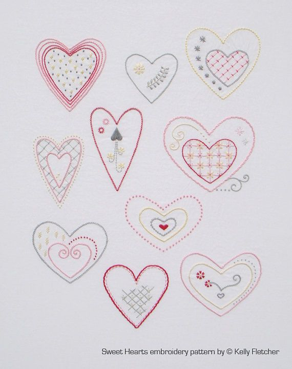 Sweet hearts modern hand embroidery pattern