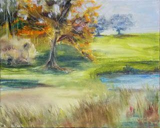 Fall Tree at Winterthur Pond, 8x10 oil, $195. #pleinair #painting #art
