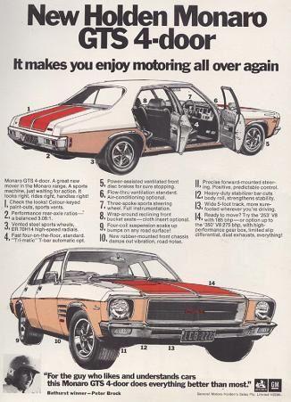 1972 Holden HQ Monaro GTS 308 V-8 4 Door Sedan. (Poster)